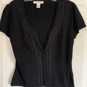 WHBM Black Low V-Neck Sweater, Beaded Trim, Size L